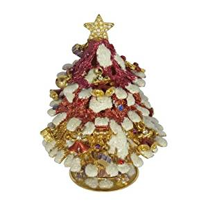 Miniature Enameled Red Christmas Tree Trinket, Pill, Jewelry Box Figurine With Swarovski Elements Crystals