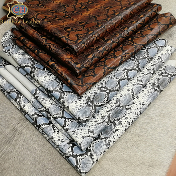 China Supplier Snake Pattern Cow Hide Skin Leather for Bags & Shoes Making