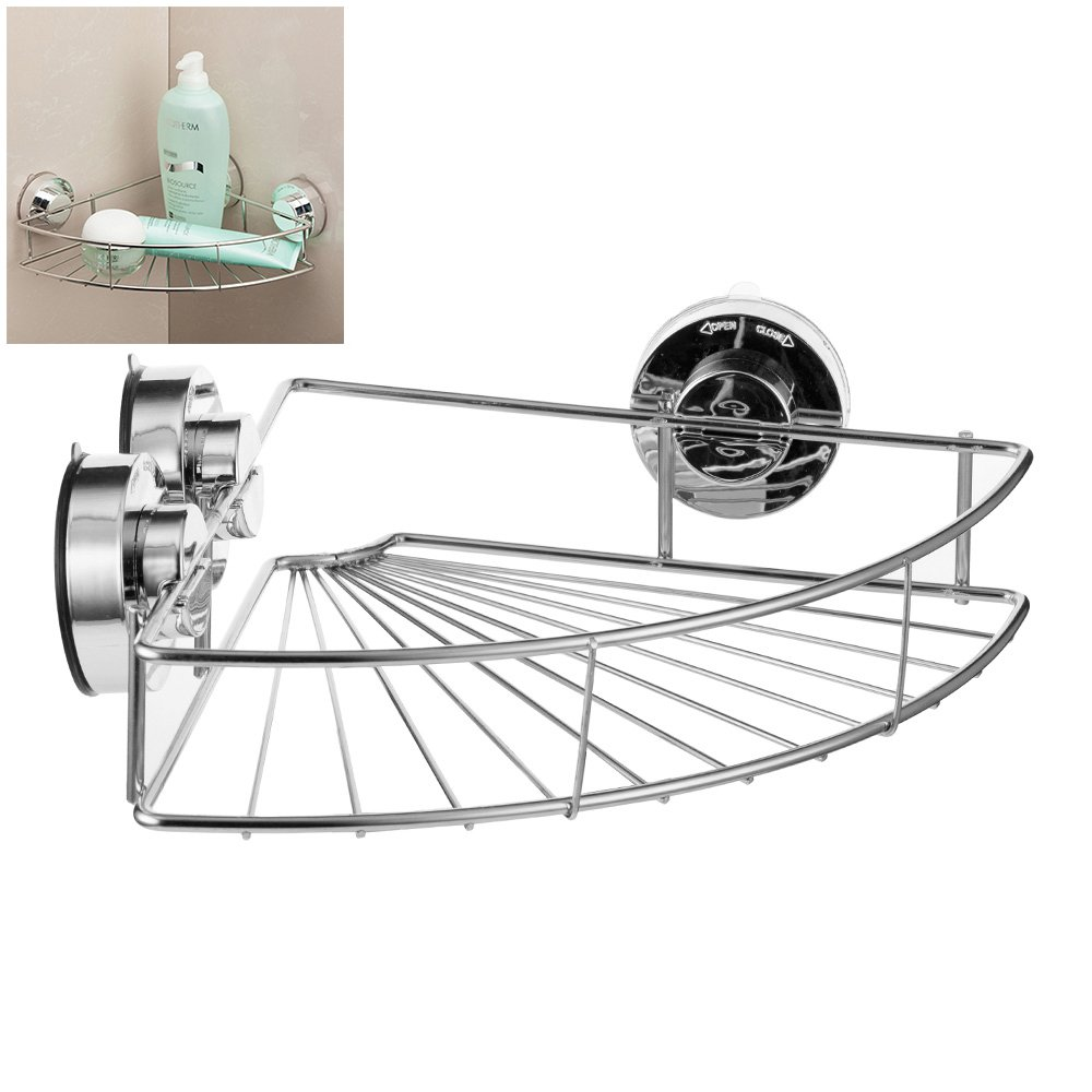 Vacuum Suction Bath Corner Shower Caddy Stainless Steel Bathroom Shower Shelf Basket Wall Corner Organizer Storage