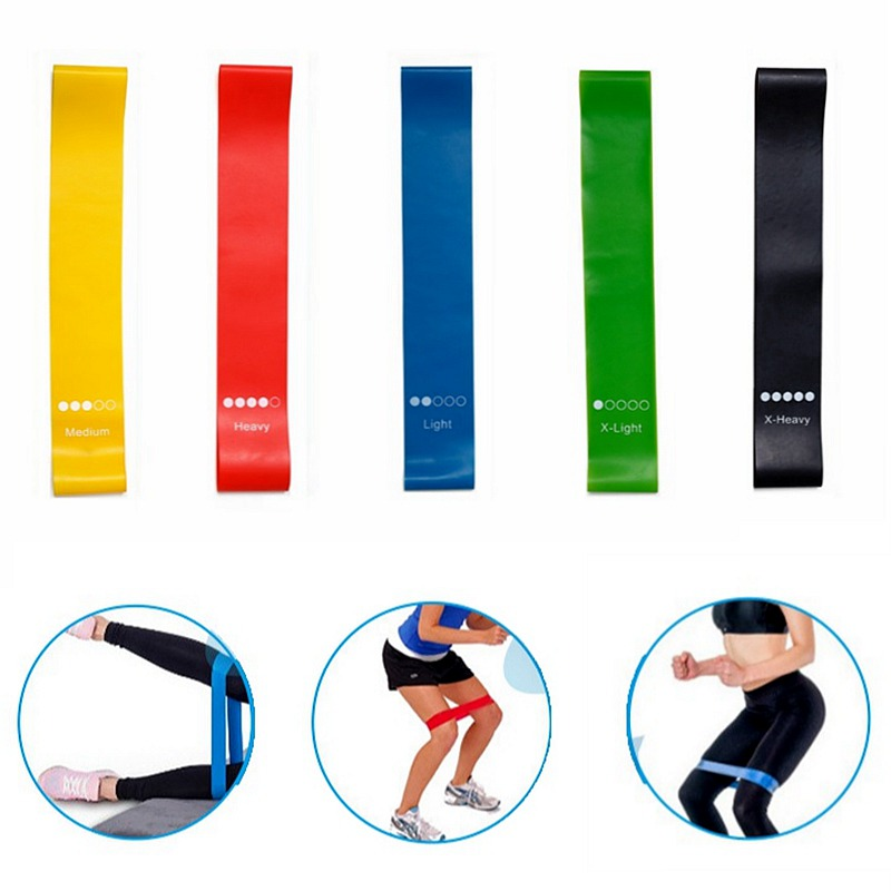 5 farben Yoga Widerstand Gummi Bands Indoor Outdoor Fitness Ausrüstung 0,35mm-1,1mm Pilates Sport Training Workout Elastische bands