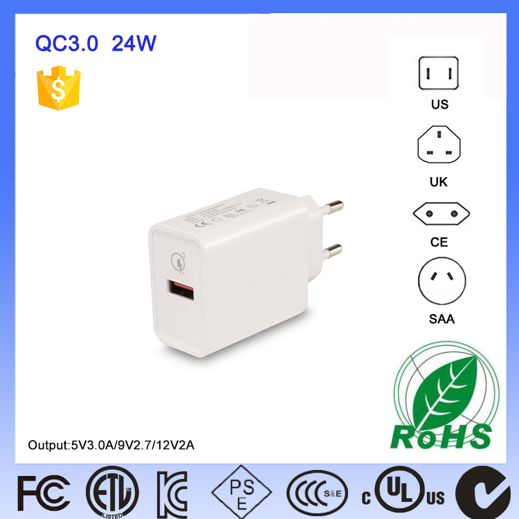 Short Time Delivery QC3.0 Single Port Travel Mobile Qc Quick Charge 3.0 Qualcomm Wall Charger