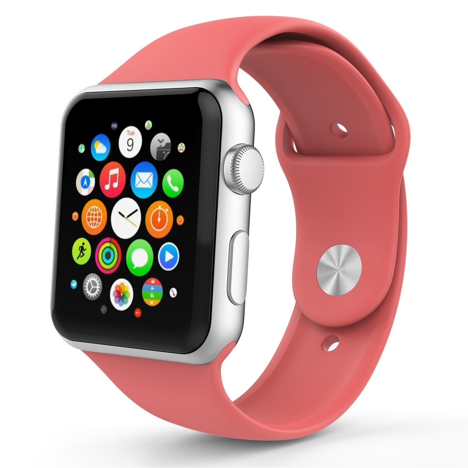 Apple Watch Band, izone 2016 Soft Silicone Replacement Sport Band for 38mm/42mm Apple Watch Models (Coral 38mm)