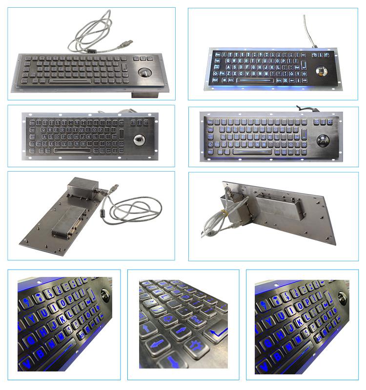 คีย์บอร์ดอุตสาหกรรมพร้อม trackball IP67 Kiosk โลหะ USB ปุ่มกดสแตนเลสโลหะกันน้ำแป้นพิมพ์