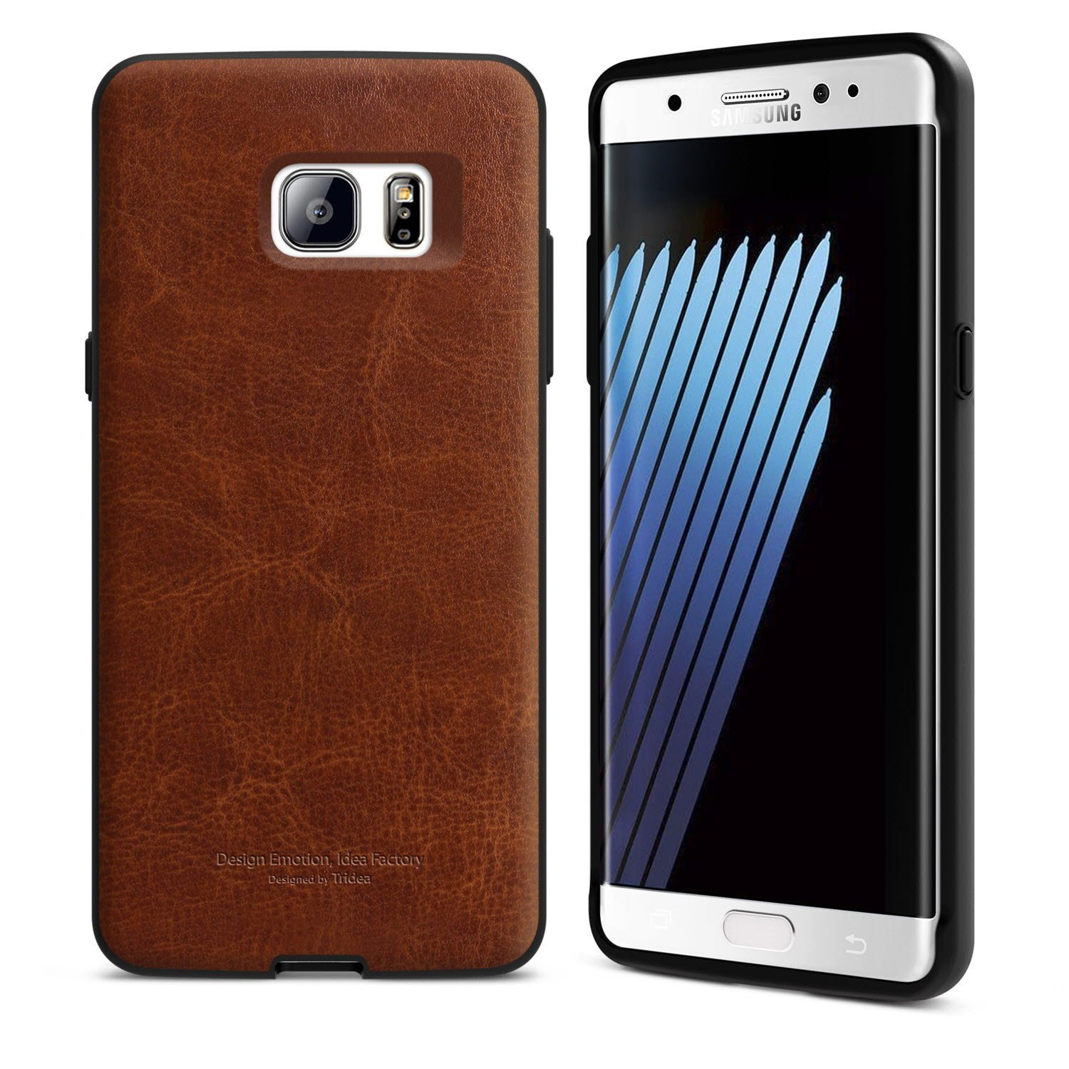 Galaxy Note 7 Case [Tridea] Power Guard Premium Synthetic Leather Bumper [Shock Resistant][Scratch-Resistant] with Hidden Card Storage Case for Galaxy Note7 (2016) [Brown]