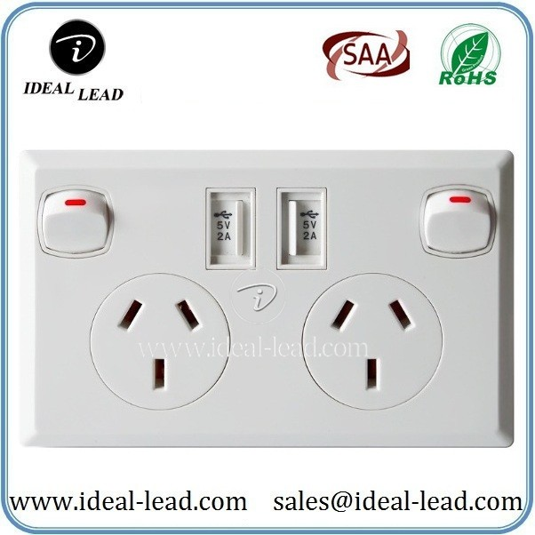 5V 2.1A AU Wall Socket with USB Port and switch