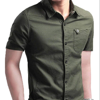Casual Men Short Sleeve Camo Shirts Modern Trendy Factory Directly Military Style Dress Shirt