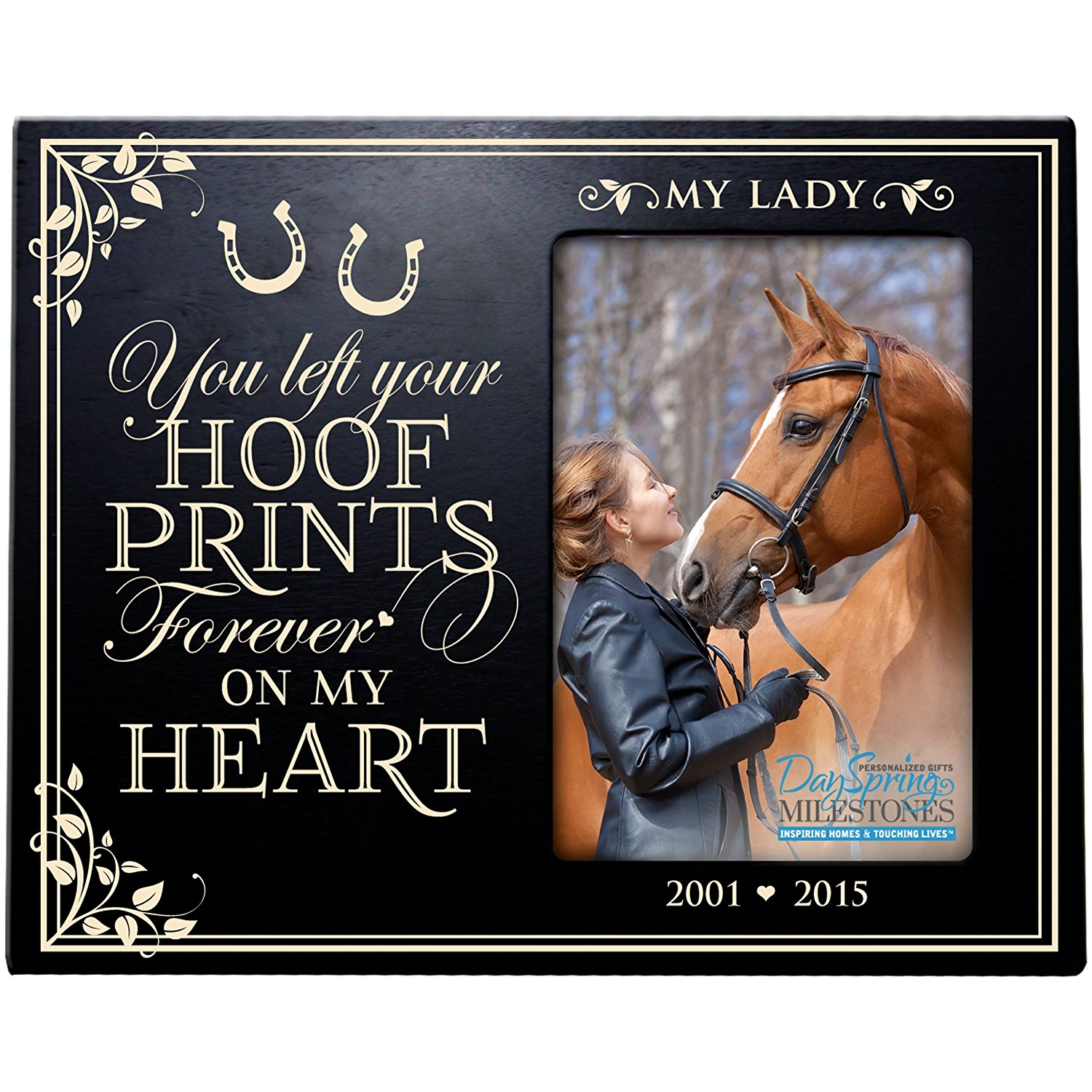 Personalized Pet Memorial Gift, Sympathy Photo Frame, You Left Your Hoof Prints Forever On