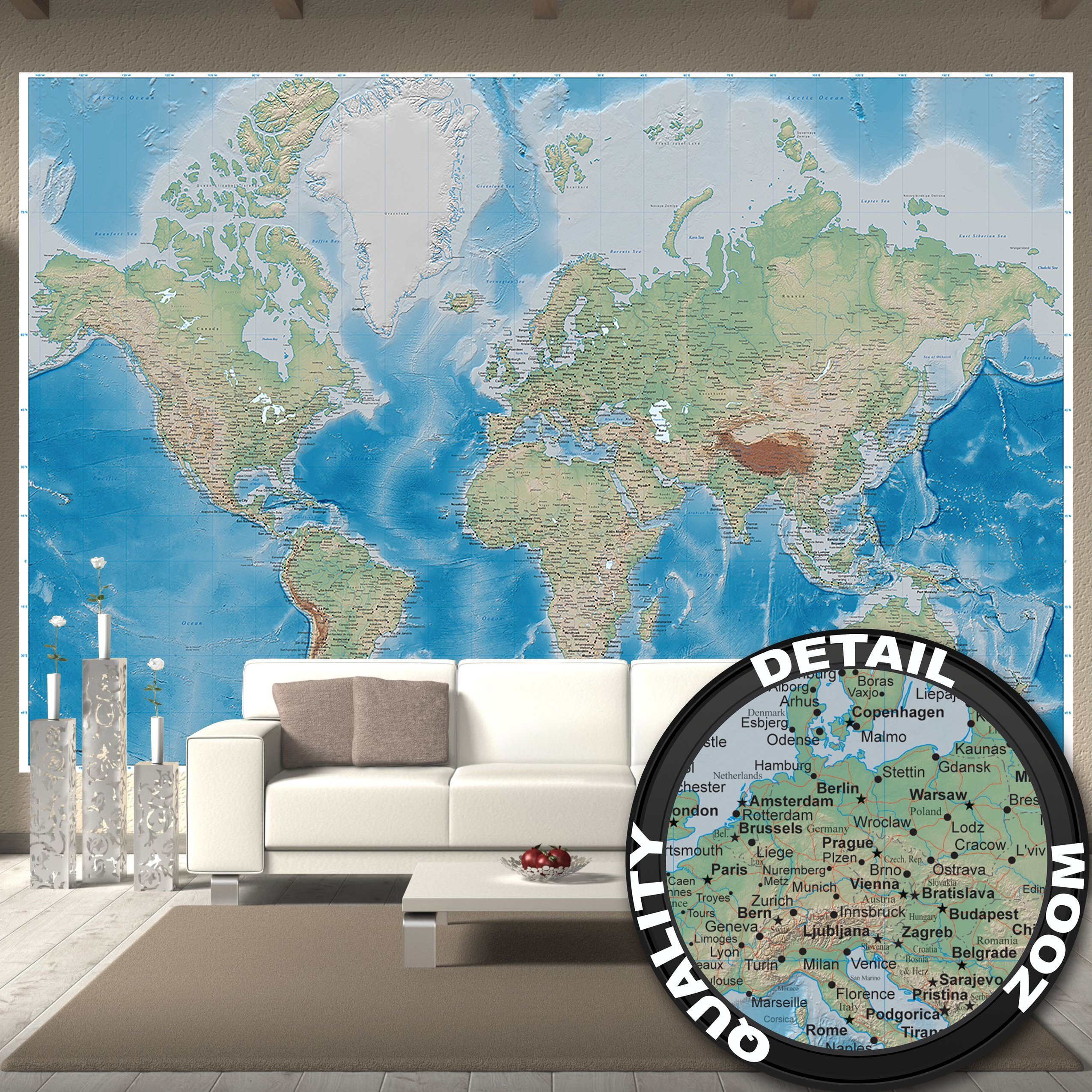 Wallpaper World map – wall picture decoration miller projection in plastically relief design earth atlas globe I paperhanging Wallpaper poster wall decor by GREAT ART (132.3 x 93.7 Inch)