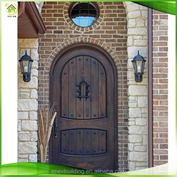 Arched Exterior 100 Solid Oak Wooden Exterior Metal Door With Glass
