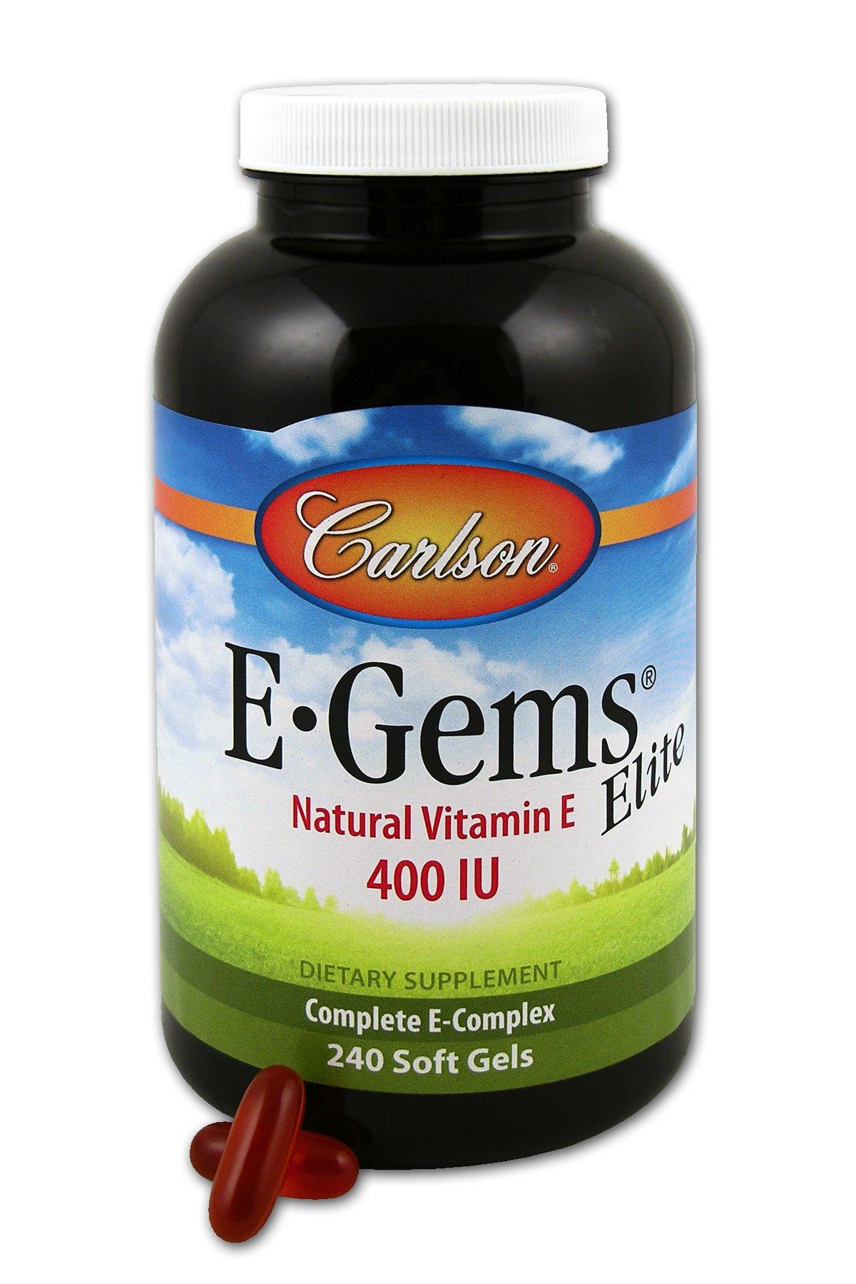 Carlson Labs E-Gems Natural Vitamin E Elite, 400 IU, 240 Softgels