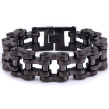 Heavy Biker Motorcycle Link 12.5/15/20/24mm 316L Stainless Steel Black Tone Mens Chain Boys Bracelet Free Shipping LHBM43