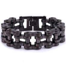 Heavy Biker Motorcycle Link 12.5/15/20/24mm 316L Stainless Steel Black Tone Mens Chain Boys Bracelet Free Shipping LHBM43