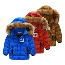 Male child size boy thickening thermal cotton padded jacket down wadded jacket cotton padded jacket fur