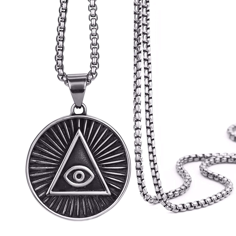 Get Quotations · Elfasio Mens Stainless Steel Pendant Necklace Illuminati  The All-seeing-eye illunati symbol Chain 5253d215f687