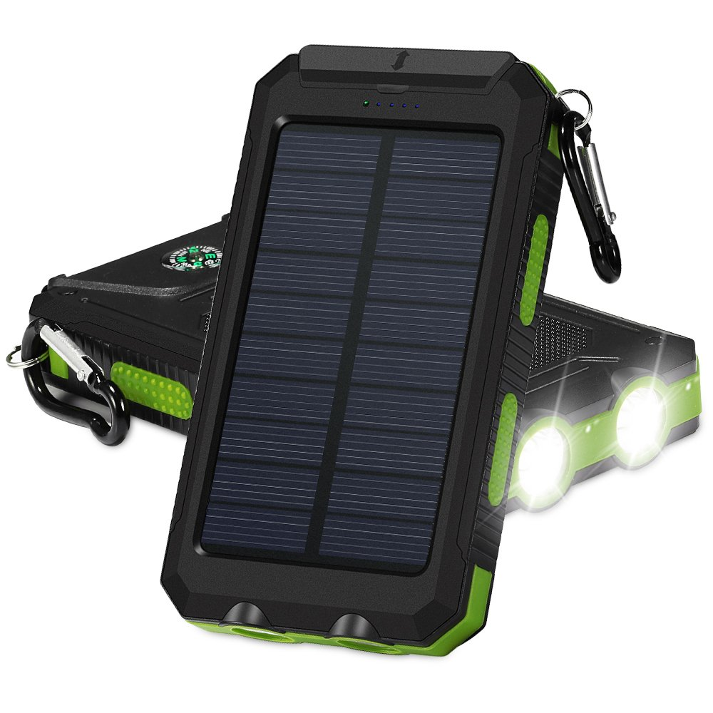 Solar Charger, BESWILL Portable 10000mAh Dual USB Output IP67 Water-Resistant Solar powered Phone Charger with 2 Flashlights Carabiner & Compass for iPhone iPad iPod Cell Phones Tablet Camera (Green)