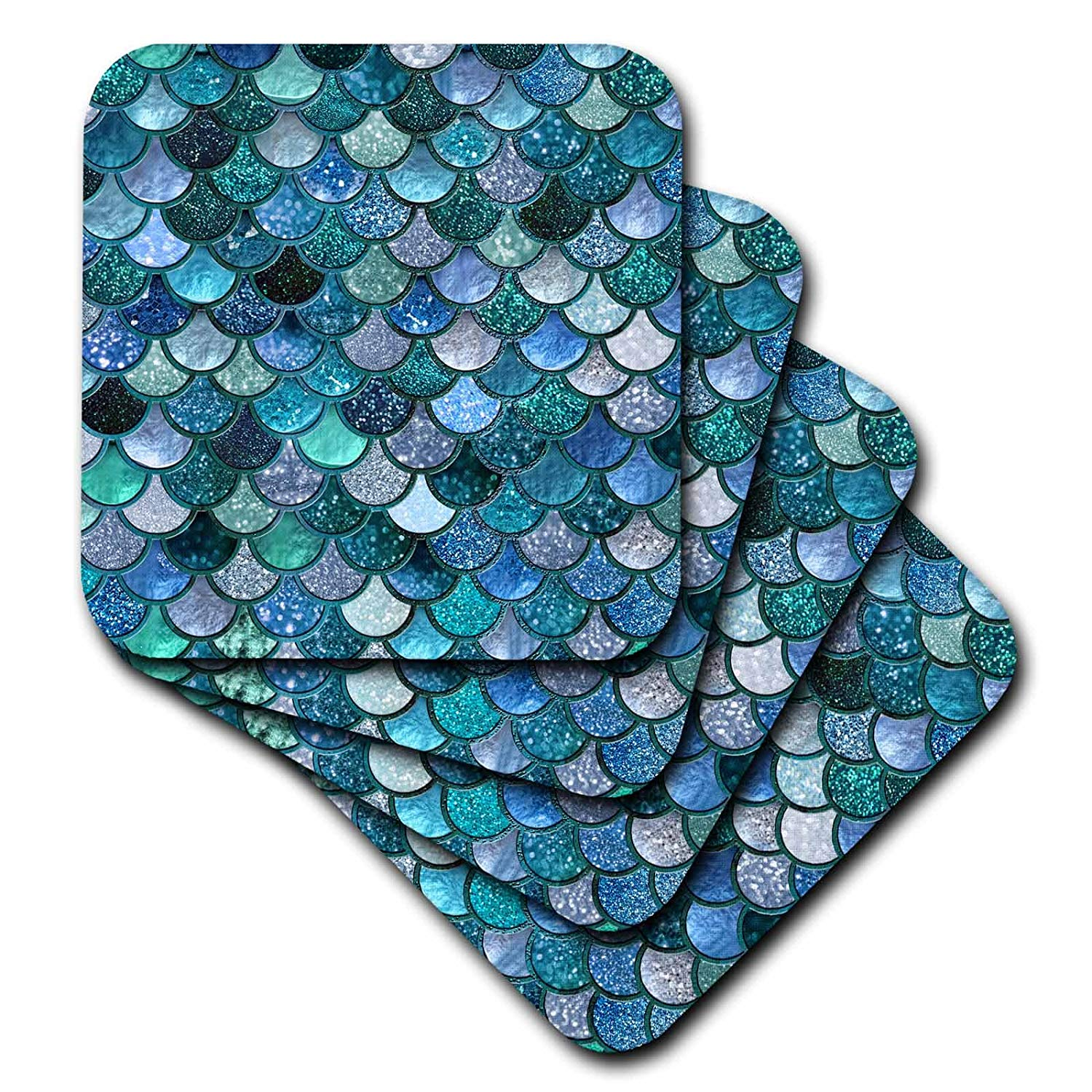 3dRose Multicolor Girly Trend Blue Luxury Elegant Mermaid Scales Glitter Soft Coasters