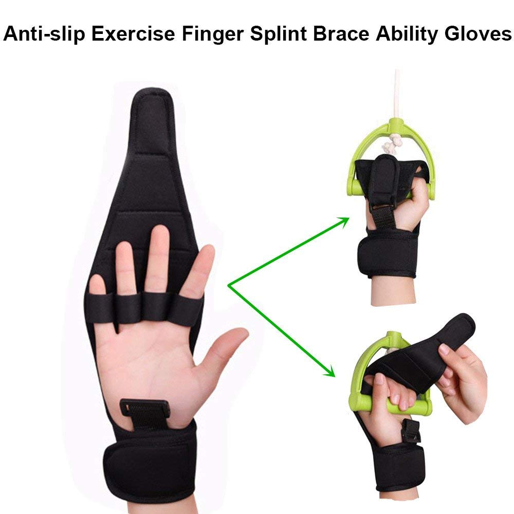 Carejoy Anti-slip Exercise Finger Splint Brace Ability Gloves, Anti-Spasticity Rehabilitation Training, Hanging Rings, Hands & Feet Training Exercise Assisted Gloves, Ideal for Stroke Hemiplegia Hand