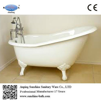 54 Inch Enamel Cast Iron Mini Slipper Indoor Bathtub Roll Top Bath Tub