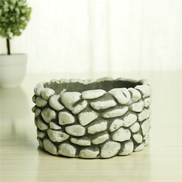 Professional design home ornament garden planter cement cobble pots flowers