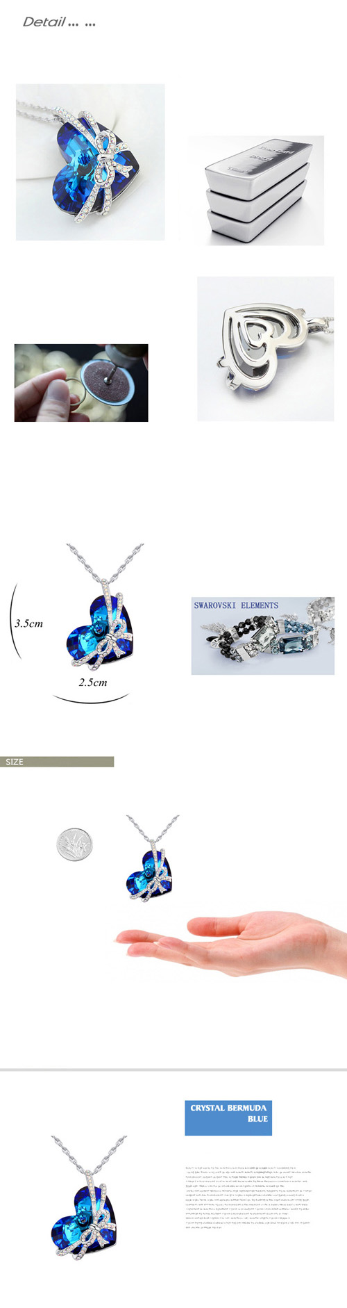 8308b5bfe8cdf0 Famous Heart of the Ocean Blue Stone Pendant Bijoux Necklace Made with  Crystals