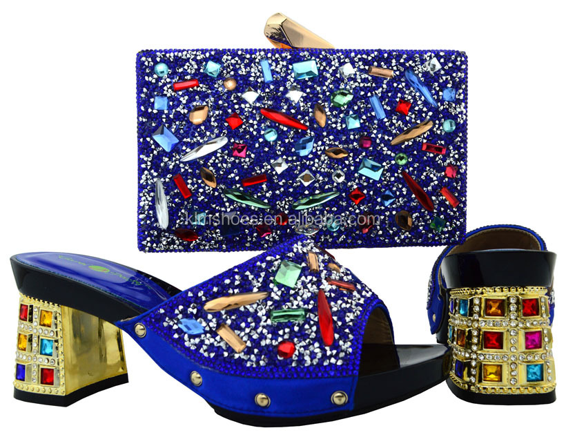Matching And 2017 Italian Shoes Women With Rhinestones Set Match Bag And Shoes African Bag Big Bags To BCH Colorful Shoe 18 With rwUZrPq