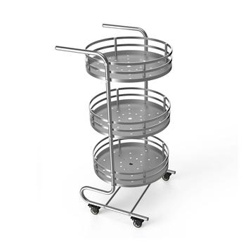3 Tier Rolling Metal Utility Cart With Handlesbathroom Storage Cart