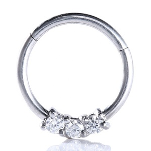 316L Surgical Steel Hinged Gemmed Nose Seamless Septum Clicker Ring body piercing jewelry