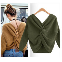 2018 autumn winter long sleeve round neck backless crossover women clothing sweater sexy women sweater pullovers