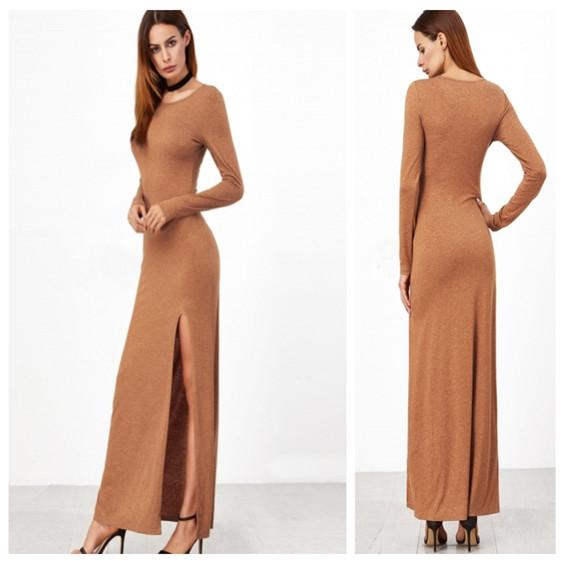 f38807e2ca65 Women's Fashion Elegance Skin Tight, High Waist ,Long Sleeves , Round Neck  ,Side Split Slim , Camel Color, Maxi Evening Dress