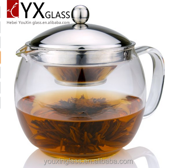 Manufacture Heat resistance High bolosilicate stainless steel Glass Teapot with Infuser for Blooming and Loose Leaf Tea Pot