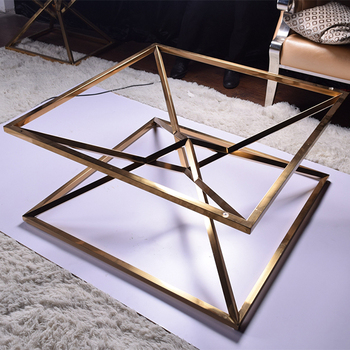C16 Living room centre table glass top gold center coffee  table design