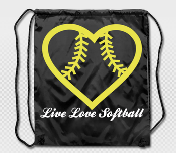 Live Love Softball Heart Cute Design Strong Drawstring Backpack Bag Bags