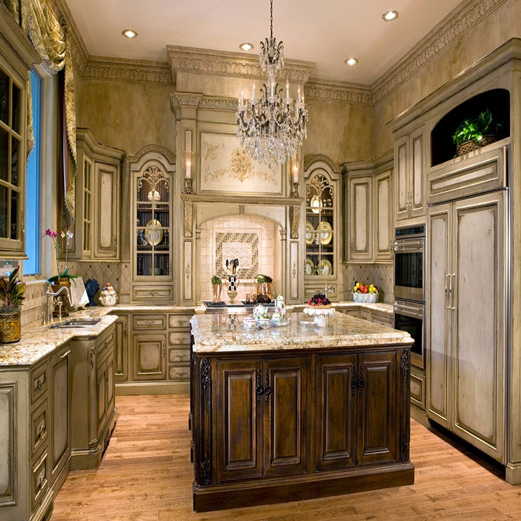 Solid Wood Kitchen Cabinets Made In Usa: Luxury European Villa Style Solid Wood Kitchen Cabinet For