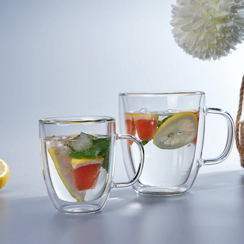 Wholesale Double Wall Glass Cup For Tea Coffee Glass Cup With Handle