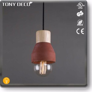 Asian Country Style Chandelier , Red Cement Pendant Lamp