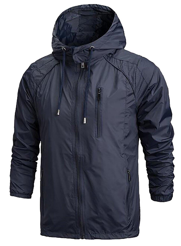 Ptyhk RG Mens Casual Hooded Sportswear Windbreaker Windproof Rain Jacket