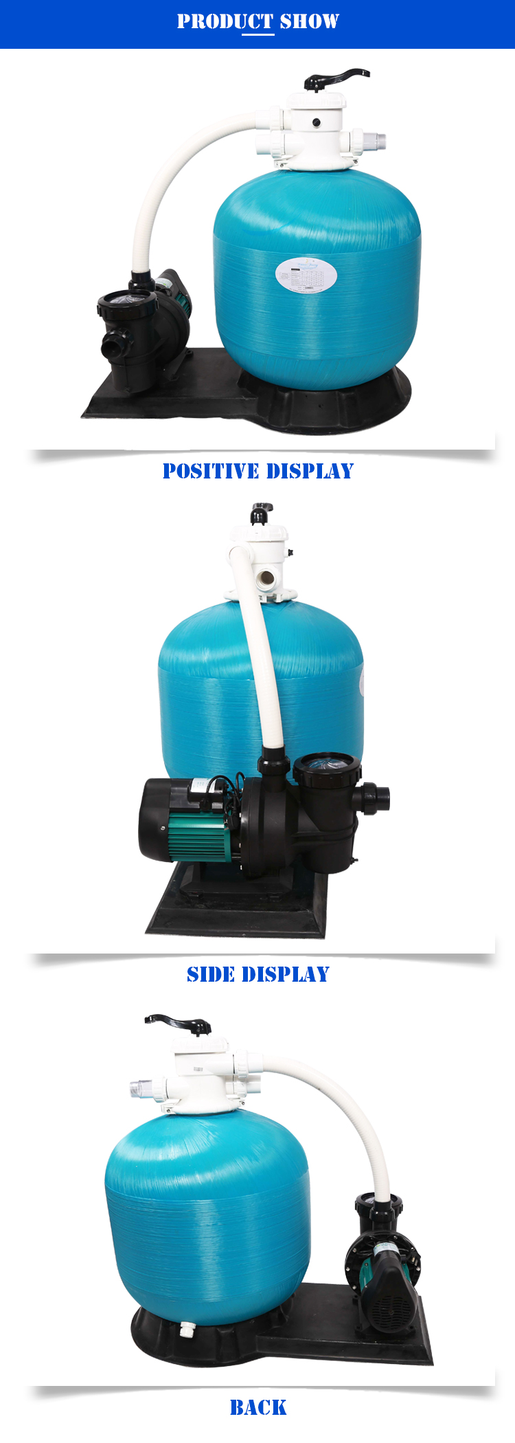 Swimming Pool Water Filtration System Top Mount Sand Filter With Pump For Swimming Pool