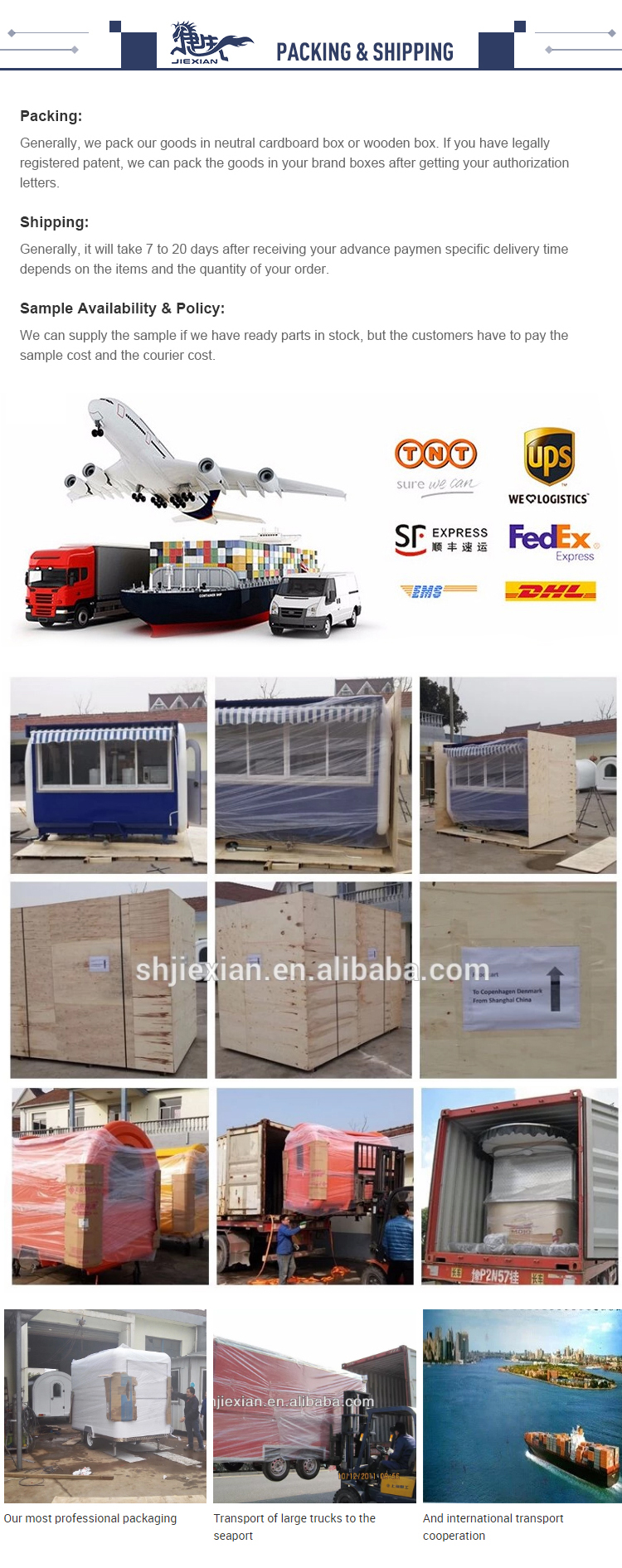 JX-BT400 Commercial shawarma food trailer mobile airstream bbq cream crepe food truck