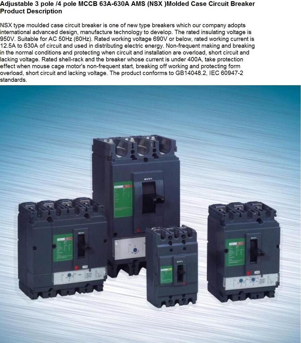 Good Quality Nsx Mccb Type 100a 160a 250a 400a To 630a 3p 4p Moulded Fuse Box