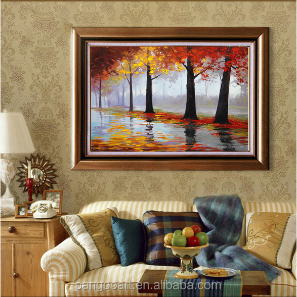 Modern Handmade Framed Landscape Oil Painting Decor Artwork For Hotel