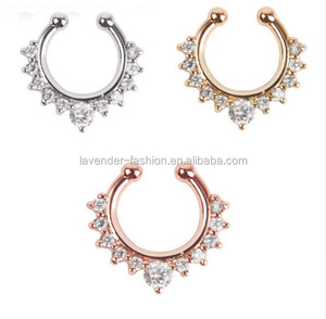 316L surgical piercing jewelry stainless steel nose studs C shape crystal rhinestone nose rings