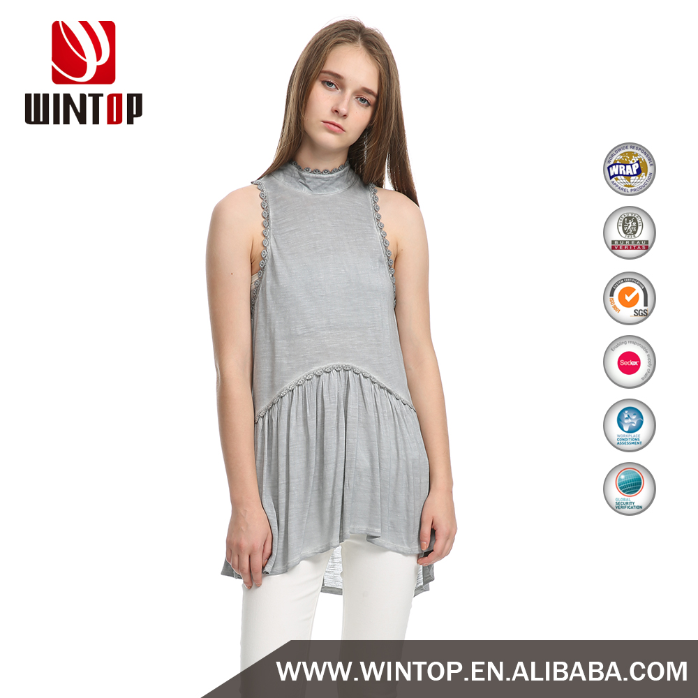 ladies fashion women grey tank top sleeveless jersey vest for sale