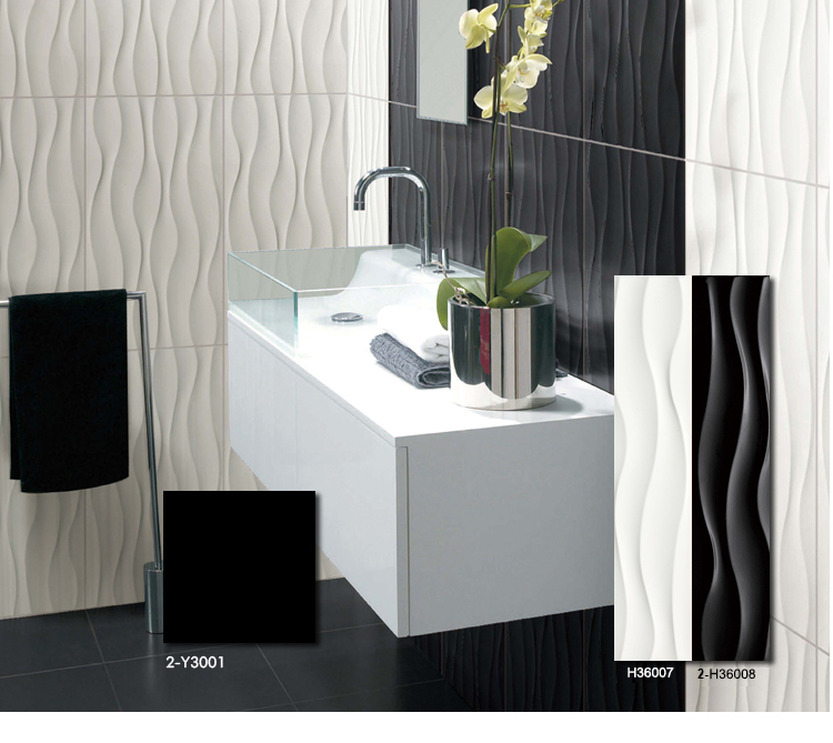 Color black wavy tiles 300x600 buy wall tile 300x600 for Bathroom design in sri lanka
