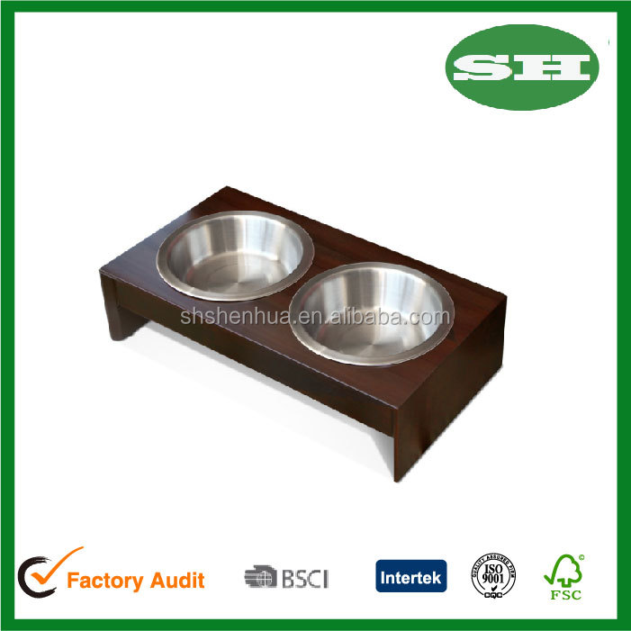 Solid wood Pet Feeder cat dog bowl stand with 2 stainless steel bowls