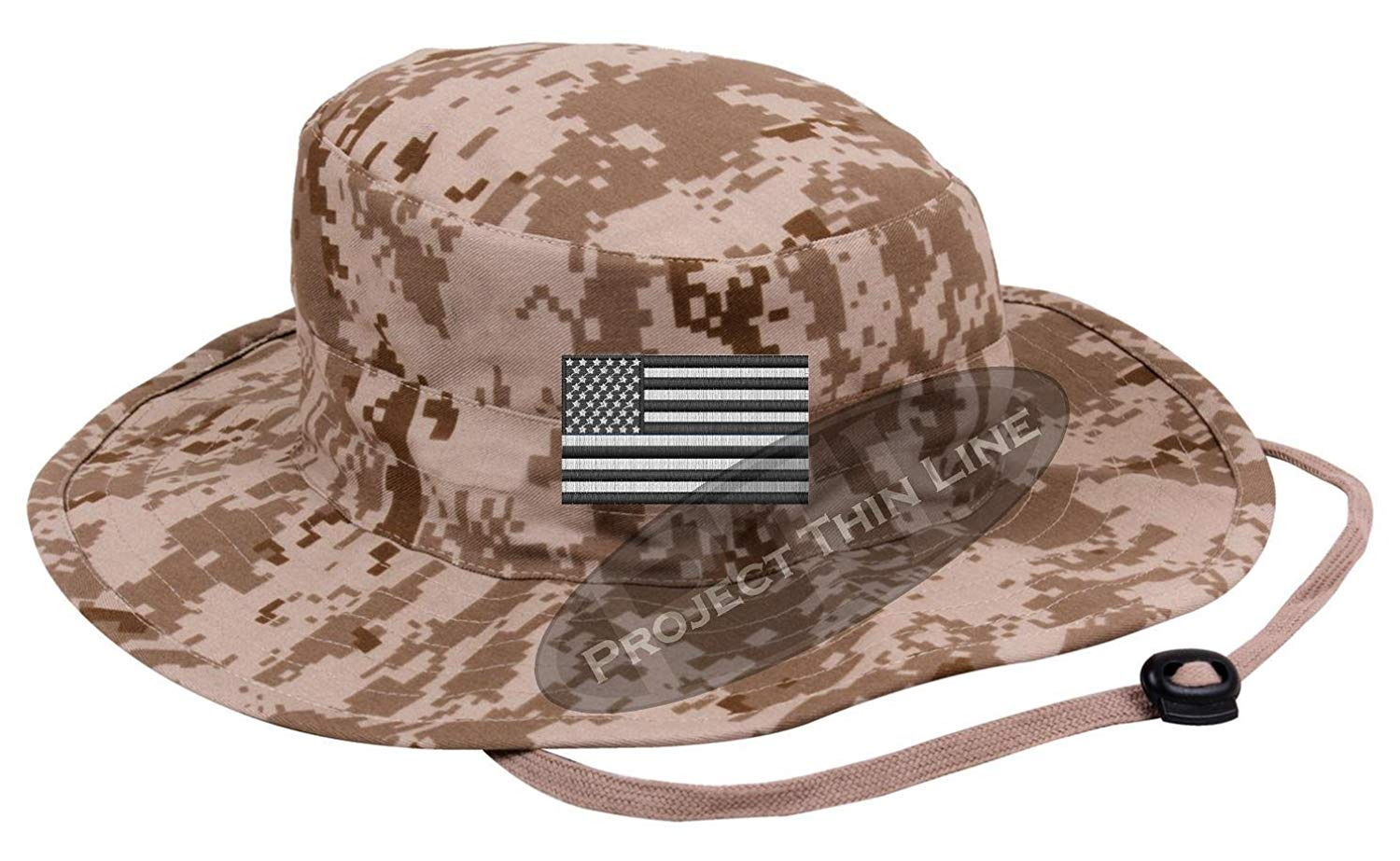 ccbc5051e07 Get Quotations · Project Thin Line Embroidered Tactical Subdued Black and  White American Flag boonie Adjustable Hat