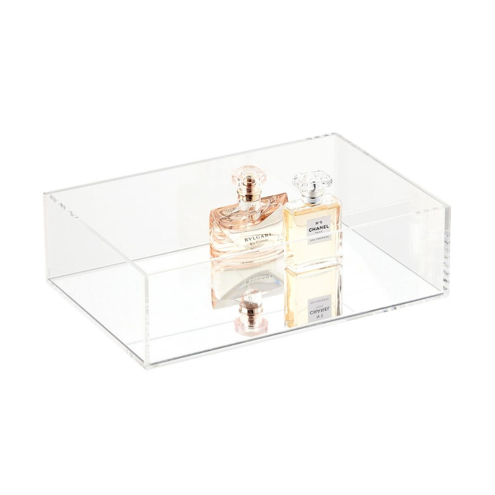 High Transparency Crystal Clear Luxe Cosmetics Display Storage Acrylic Tray with Mirror Base