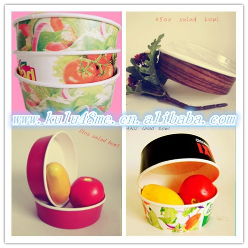 wholesale pulp material single wall round food container with lids/personality design paper salad bowl