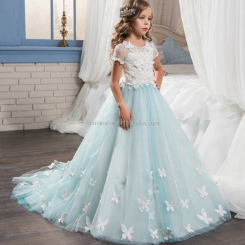 New design fashion white and light blue color long flower lace angel new design fashion white and light blue color long flower lace angel dress for baby girl mightylinksfo
