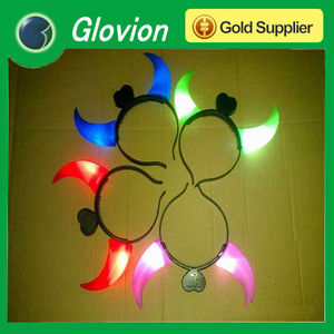 LED glowing devil horns, led flashing glowing horns , glow devil horns for wedding decoration