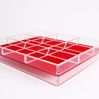 square jewellery box display counter top travel acrylic clear nine compartment felt jewelry trays
